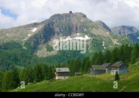 landscape towards fuchiare mountain hut, san pellegrino pass, italy - Stock Photo
