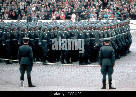 Military parade of the National People's Army NVA of the GDR 1960 in East Berlin. - Stock Photo