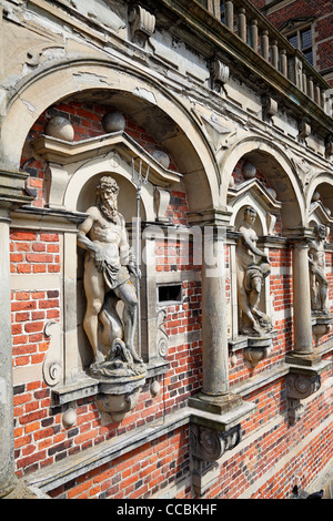 Mythological figures in the arcade wall around the entrance to The Frederiksborg Castle in Hillerød close to Copenhagen, - Stock Photo