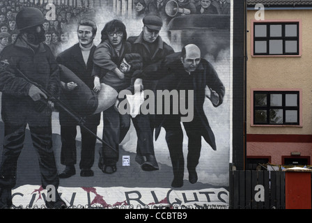 Political Mural in the Bogside, Derry, Londonderry, County Derry, Ulster, North Ireland, UK, Europe. - Stock Photo