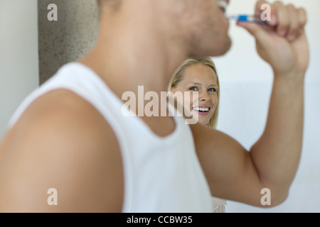 Couple together in bathroom - Stock Photo