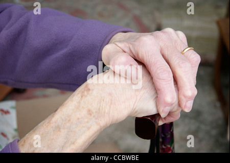 Elderly woman's hands holding a walking stick - Stock Photo