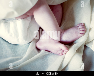 Legs of new born baby, cropped - Stock Photo