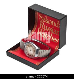 Vintage 1960's Sekonda automatic 24-jewels men's wristwatch, made in USSR - Stock Photo