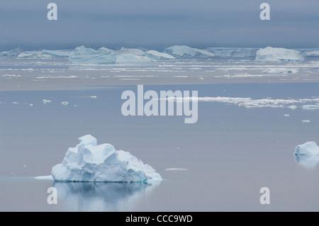 Antarctica, Antarctic Peninsula, Brown Bluff. Iceberg & bergy bits ice waterscape. - Stock Photo