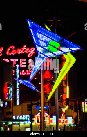 A giant martini glass in blue neon decorates Fremont Street in Las Vegas, NV, part of the neon sign 'Fremont Street - Stock Photo