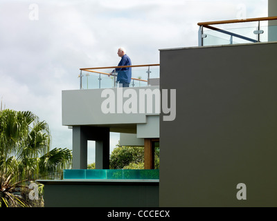 House in Manley Sydney Australia by Assemblage Peter Chivers Architect balcony portrait of architect(Peter Chivers - Stock Photo