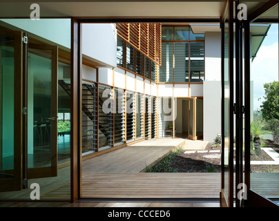 House in Manley, Sydney, Australia, by Assemblage - Peter Chivers Architect, bedroom, inner courtyard, living room - Stock Photo