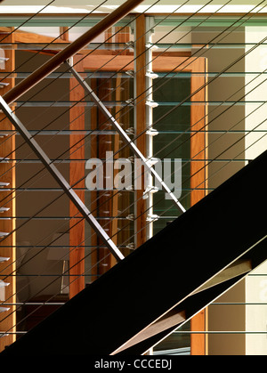 House in Manley, Sydney, Australia, by Assemblage - Peter Chivers Architect, detail of stair - Stock Photo