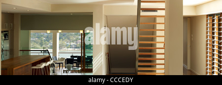 House in Manley, Sydney, Australia, by Assemblage - Peter Chivers Architect, stair case, living room, landscape - Stock Photo