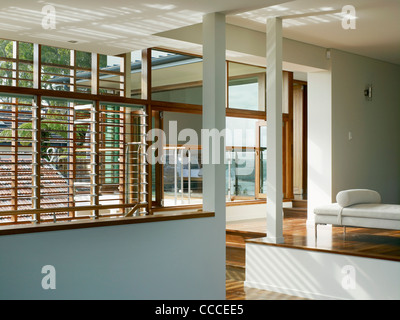House in Manley, Sydney, Australia, by Assemblage - Peter Chivers Architect, stair, day room, bedroom, windows - Stock Photo