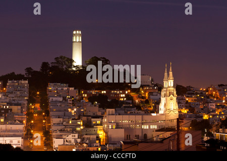Coit tower on Telegraph Hill - San Francisco, CA - Stock Photo