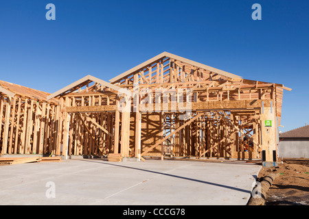 New family home under construction - USA - Stock Photo