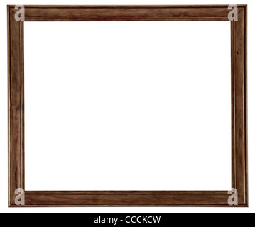 A wooden picture frame isolated on a white background - Stock Photo