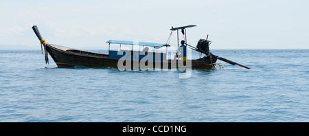Long boats on Ko Phi Phi in Thailand - Stock Photo