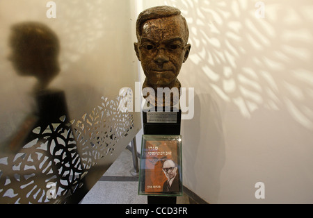 A book written by Menachem Begin placed with sculpted bust of Zionist Ze'ev Jabotinsky who passionately advocated - Stock Photo