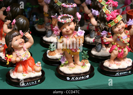 Toy dolls for sales. Aloha Tower Market Place, Honolulu, Pacific Island Culture.  Hawaii, USA - Stock Photo