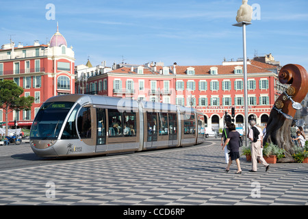 Tram running through the Place Massena in Nice on the Mediterranean coast in southern France. - Stock Photo