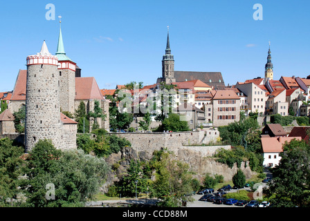 Old town with Building Old Water Art, Church Saint Michael, Cathedral and City hall of Bautzen. - Stock Photo