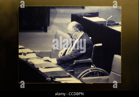 Photograph of Menachem Begin in the Israeli parliament displayed at Menachem Begin Heritage Center the official - Stock Photo