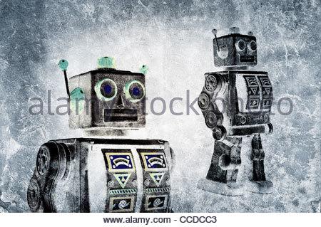 fine art retro tin robot - Stock Photo
