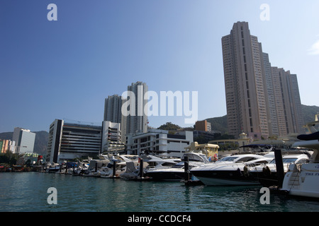 expensive luxury motorboat cruisers moored in aberdeen harbour marina hong kong hksar china asia - Stock Photo