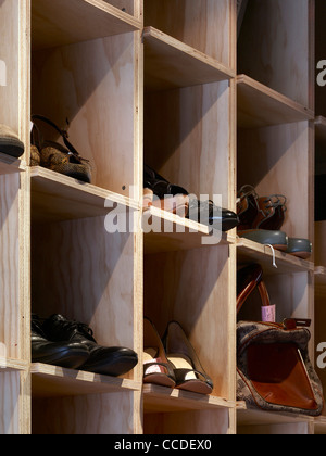 Display detail Cobbler Caballero is a new retail store bringing quality shoe repairs to the heart of sydney's kings - Stock Photo