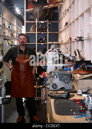 Portrait of Andreas the cobbler Cobbler Caballero is a new retail store bringing quality shoe repairs to the heart - Stock Photo
