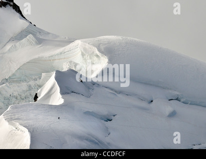 Mountaineers climbing the Mont Blanc in the French Alps, France - Stock Photo