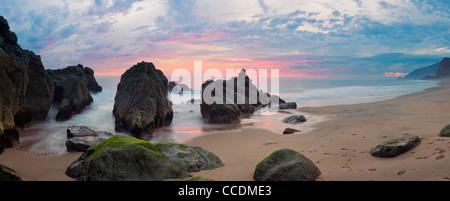 Panorama of Sunset on California Coast along Pacific Coast Highway - Stock Photo