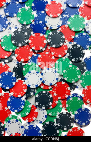 Poker game, different valued tokens, gaming chips. - Stock Photo