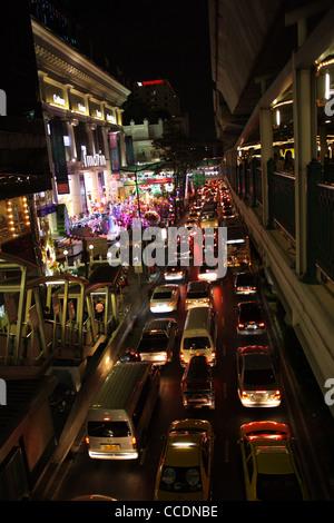 BTS railway on Sukhumvit road in Bangkok - Stock Photo