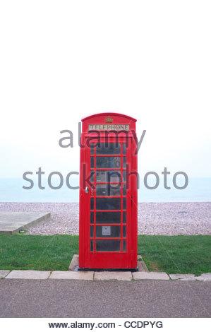 BT K6 phonebox on Budleigh Salterton seafront, Devon, UK. - Stock Photo