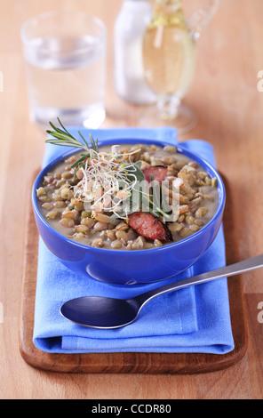 Bowl of lentil soup - closeup - Stock Photo