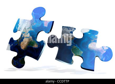 global map puzzles comunication on white background - Stock Photo