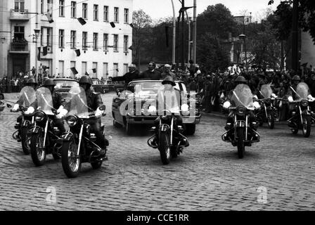 State visit of the Soviet party leader Leonid Brezhnev in East Berlin 1973. - Stock Photo