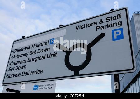 Road sign at a hospital - Stock Photo