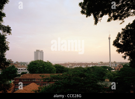 Cityscape view over the city of Melaka Malacca in Malaysia in Far East Southeast Asia. Travel - Stock Photo