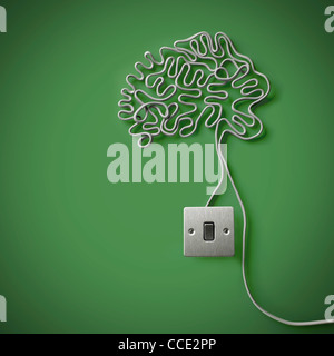 The human brain made from gray electricity cable with a light switch - Stock Photo