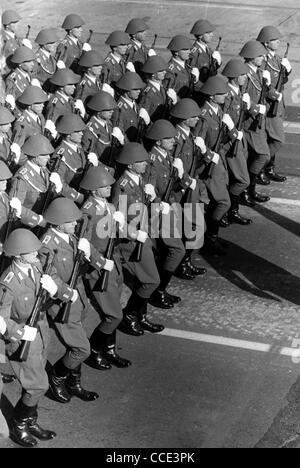 Military parade of the National People's Army of the GDR 1979 in East Berlin. - Stock Photo