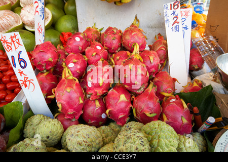 pitaya dragon fruits on a fresh asian fruit stall in aberdeen hong kong hksar china asia - Stock Photo