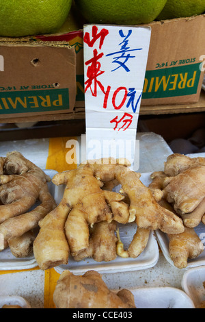 fresh ginger rhizomes on a fruit and vegetable stall in aberdeen hong kong hksar china asia - Stock Photo