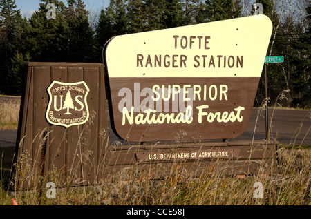 Sign for Superior National Forest in northeast Minnesota in the North Shore area - Stock Photo