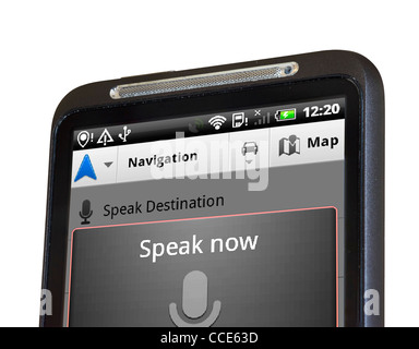 Voice recognition on Google Maps Navigation with an HTC smartphone - Stock Photo