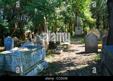 Italy : the Jewish Cemetery of Venice Lido, one of the oldest  Jewish Cemeteries in Europe. - Stock Photo