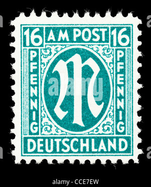 Postage stamp: Germany, AM Post, 1945, 16 Pfennig, mint condition - Stock Photo