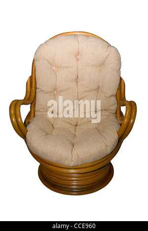Rattan chair isolated on white background - Stock Photo