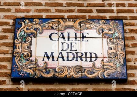 Calle de Madrid, tiled street sign. Madrid, Spain. - Stock Photo