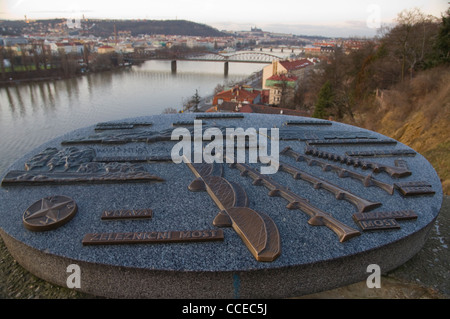 Visible bridges in a miniature model over river Vltava at Vysehrad castle hill district Prague Czech Republic Europe - Stock Photo