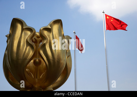 golden bauhinia sculpture in square wan chai hong kong hksar china asia - Stock Photo